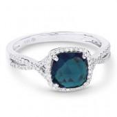 14K White Gold 0.12 CTW Diamond 2.00 CT Blue Topaz RIng