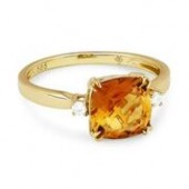 14KY .06CTW Diamond and Citrine Ring