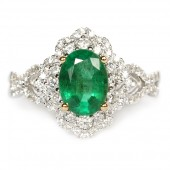 18K White and Yellow Gold Oval Emerald Diamond Halo Ring