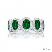 Platinum 0.46 CTW Diamond 2.27 CTW Emerald Band