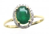 14K Yellow Gold 0.08 CTW 0.72 CT Emerald Ring