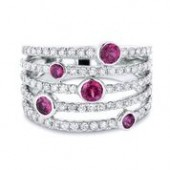 14K White Gold Diamond and Ruby Multi Row Band