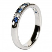 14K White Gold Sapphire and Diamond Channel Set Band