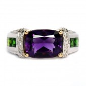 14K Two-Tone Gold Amethyst Multi-Gem Cocktail Ring