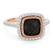 14KP .29CTW Diamond 2.43CT Smoky Quartz Ring