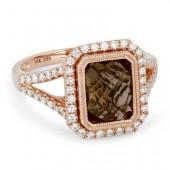 14K Rose Gold 0.35 CTW Diamond 2.33 CT Smoky Quartz Ring