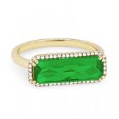 14K Yellow Gold 0.10 CTW Diamond Green Corundum