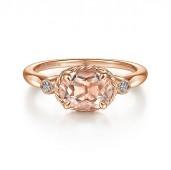 14K ROSE GOLD DIAMOND AND SIDEWAYS OVAL MORGANITE RING