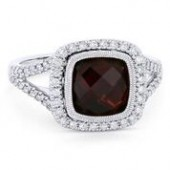 14KW .39CTW Diamond 3.24CT Garnet Ring