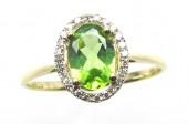 14K Yellow Gold 0.08 CTW Diamond 0.77 CT Peridot Ring