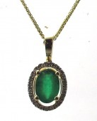 14K Yellow Gold 0.08 Diamond 0.72 CT Emerald Pendant