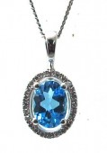 14K White Gold 0.08 CTW Diamond 0.90 CT Swiss Blue Topaz Pendant