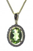 14K Yellow Gold 0.08 CTW Diamond 0.77 CT Peridot Pendant