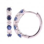 14K White Gold 0.31 CTW Diamond 0.56 CTW Sapphire Loop Earrings