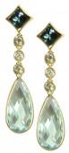 14K Yellow Gold Blue Topaz and Diamond Drop Earrings
