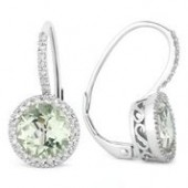 14KW .18CTW Diamond and Green Amethyst Earring