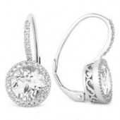 14KW .19CTW Diamond and White Topaz Earrings