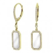 14K Yellow Gold 0.23 Diamond Mother of Pearl Earrings