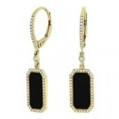 14K Yellow Gold 0.23 CTW Diamond Black Onyx Earring