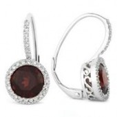 14KW .19CTW Diamond and Garnet Earrings