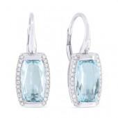 14K White Gold 0.14 CTW Diamond 4.05 CTW Swiss Blue Topaz Earrings