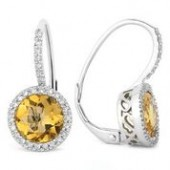 14KW .18CTW Diamond and Citrine Earrings