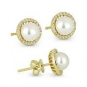 14KY .16CTW Diamond and Pearl Earrings