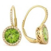 14KY .19CTW Diamond and Peridot Earrings