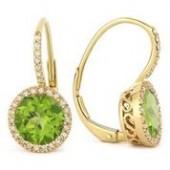14KY .19CTW Diamond and Peridot Earrings