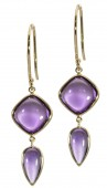 14KY Amethyst Smooth Cush& Smooth Pear Gold & Other Earring