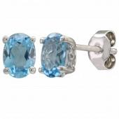 14K White Gold 1.52 CTW Swiss Blue Topaz Earrings