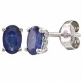 14K White Gold 1.08 CTW Sapphire Earrings