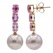 18K Rose Gold Pearl and Pink Sapphire Earrings