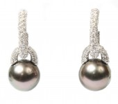 18K White Gold 1.12 CTW Diamond and Pearl Earrings