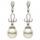 18K White Gold 1.04 CTW Diamond and Pearl Earrings