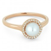 14K Rose Gold 0.08 CTW Diamond Pearl Ring