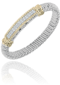 Vahan 8mm Sterling Silver and 14K Yellow Gold Diamond Bracelet