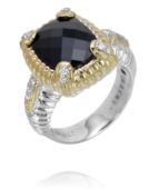 Vahan Sterling Silver and 14K Yellow Gold Onyx and Diamond Ring
