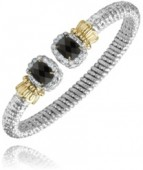 6mm Wide Vahan Sterling Silver and 14K Yellow Gold Onyx and Diamond Bangle Bracelet