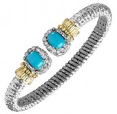 6mm Wide Vahan Sterling Silver and 14K Yellow Gold Turquoise and Diamond Bangle Bracelet