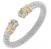 8mm Wide Vahan Sterling Silver and 14K Yellow Gold Diamond Bangle Bracelet