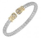 4mm Wide Vahan Sterling Silver and 14K Yellow Gold Diamond Bangle Bracelet