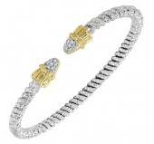 3mm Wide Vahan Sterling Silver and 14K Yellow Gold Diamond Bangle Bracelet