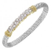 6mm Wide Vanah Sterling Silver and 14K Yellow Gold Diamond Bangle Bracelet