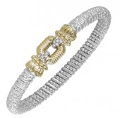 6mm Wide Vahan Sterling Silver and 14K Yellow Gold Diamond Bangle Bracelet