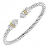 3mm Wide Vahan Sterling Silver and 14K Yellow Gold Bangle Bracelet