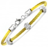 Gold Plated Sterling Silver and Stainless Steel Diamond Station Bracelet