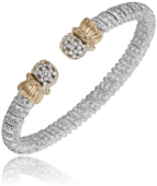 VAHAN STERLING SILVER AND 14K GOLD .29CTW DIAMOND 6MM CUFF BRACELET
