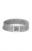 STERLING SILVER CLASSIC 15MM BRACELET WITH RETICULATED PUSHER CLASP