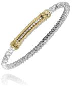 Vahan Sterling Silver and 14K Gold .08ctw 3mm Closed Bangle Bracelet